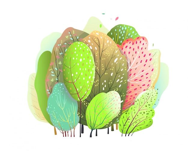 かわいいカラフルな木とブッシュの森の水彩デザイン。