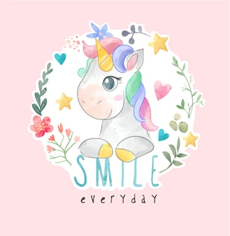 Cute colorful unicorn in circle flower wreath illustration