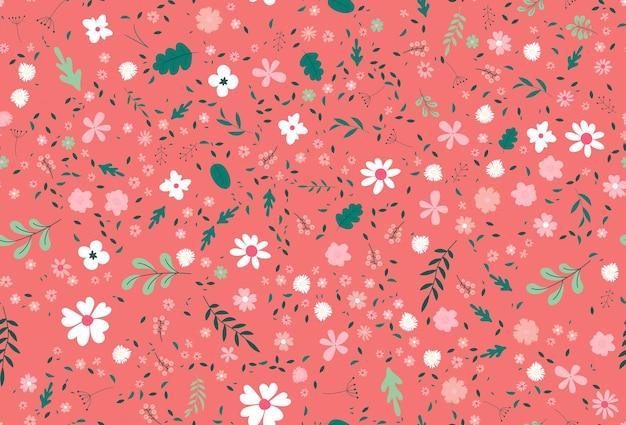 꽃, 잎, 식물이 있는 귀여운 다채로운 벡터 텍스처. 자연 요소와 그림입니다. 귀하의 비즈니스를 위한 새로운 패턴.