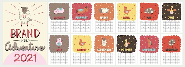 Cute colorful wall calendar with funny scandinavian style farm animal illustration