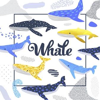 Симпатичный красочный дизайн китов