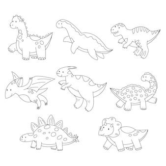 Cute coloring dinosaur dino for kid  books cartoon children game black and white flat vector