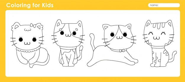 Симпатичная раскраска для детей с animal cat