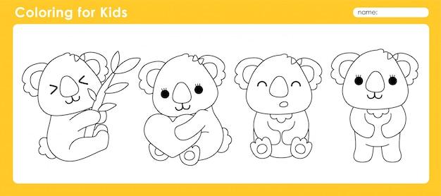 Симпатичная раскраска для детей с animal koala