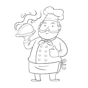 Симпатичная раскраска для детей с шеф-поваром