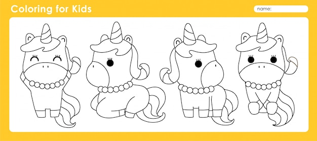 Cute coloring for kids with animal unicorn