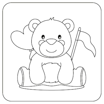 Cute coloring for kids with bear