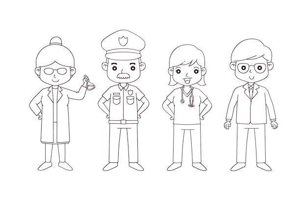 Cute coloring for kids with careers