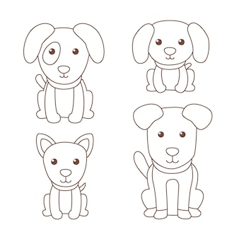 Cute coloring for kids with dogs
