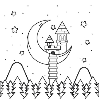 Cute coloring for kids with fairytale castle
