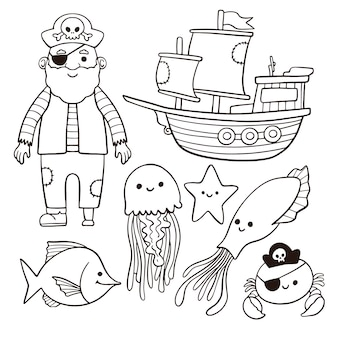 Cute coloring for kids with pirate concept