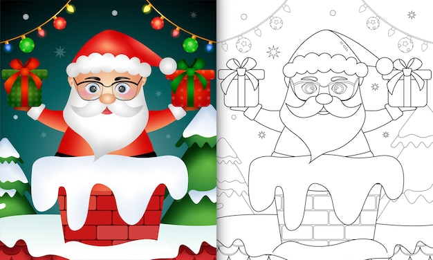 Cute coloring for kids with santa claus in chimney