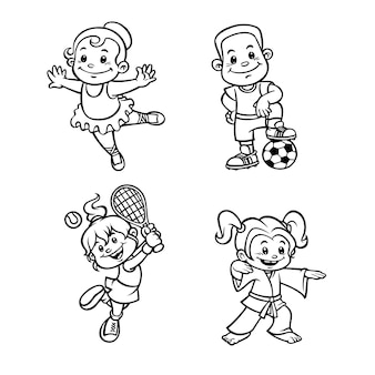 Cute coloring for kids with sport hobbies