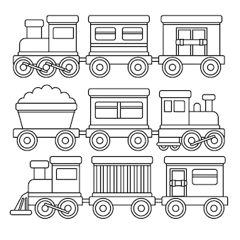 Cute coloring for kids with trains