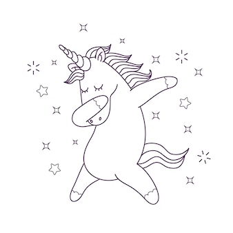 Cute coloring for kids with unicorn character