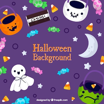 Cute colourful halloween background
