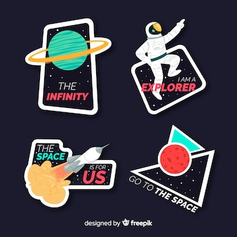 Cute colourful space stickers collection