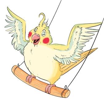 翼のあるブランコに乗ったかわいいコミックスタイルのインコ。枝、愛らしい幸せな鳥のイラストに漫画バッジー