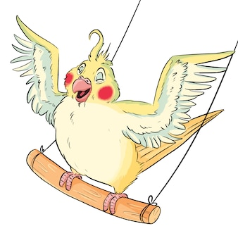Cute comic style parakeet on swings with wings widely spread. cartoon budgie on branch, adorable happy bird illustration