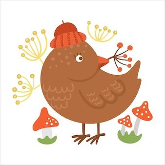 새, 딸기, 버섯이 있는 귀여운 구성. 가을 디자인. 가을 시즌 삼림 동물