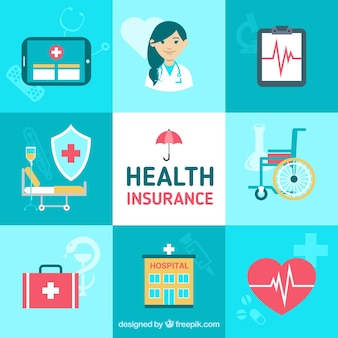 Cute composition with health insurance elements