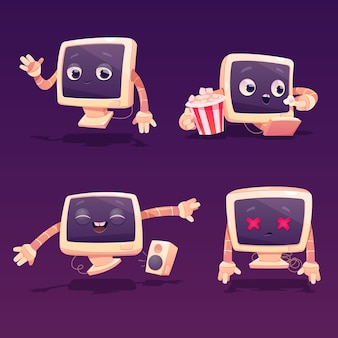 Cute computer character in different poses