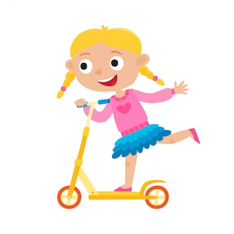 Cute  concept illustration of little girl having fun outside. happy child riding kick scooters outdoors. summer break, little blonde girl in shirt and skirt having free time isolated on white