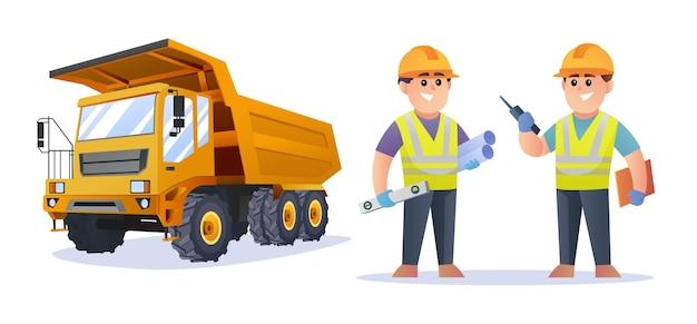 トラックのイラストとかわいい建設エンジニアのキャラクター