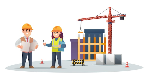 타워 크레인이 있는 건설 현장의 귀여운 건설 감독과 여성 엔지니어 캐릭터