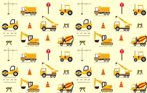 Cute construction seamless pattern