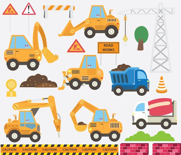 Cute construction transportation set