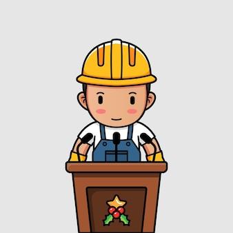 Милый рабочий-строитель говорит с подиума