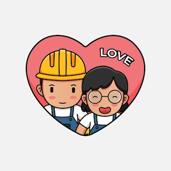 Cute construction worker on valentines day
