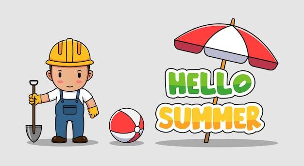 こんにちは夏の挨拶バナーとかわいい建設労働者