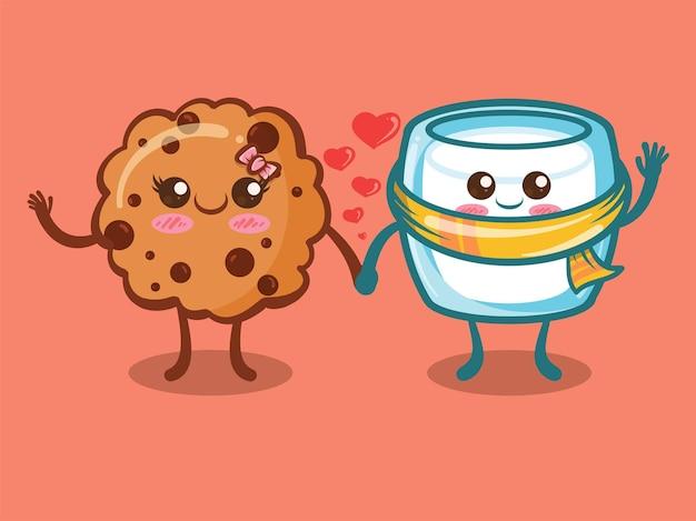 かわいいクッキーチョコチップとミルクグラスのカップルのコンセプト。