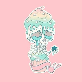 캐릭터, 스티커, 티셔츠를 위한 귀여운 쿠키 해골