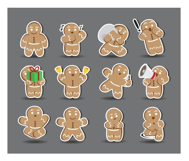 Cute cookiesman stickers with twelve alternative poses