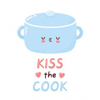 かわいい鍋料理のキャラクター。クックカードにキスします。白い背景で隔離されました。漫画キャラクター手描きスタイルイラスト