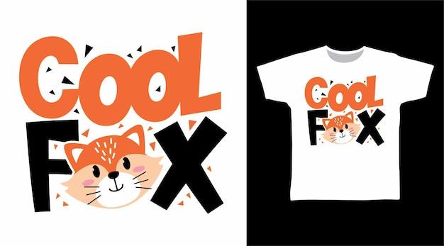 かわいいクールなキツネのタイポグラフィtシャツのデザインコンセプト