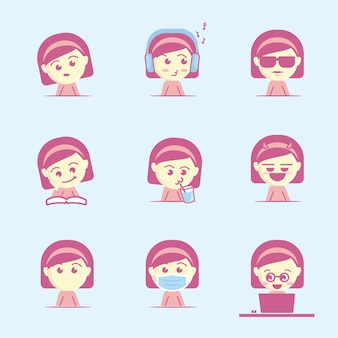 Cute and cool girl face icon set, flat cartoon style
