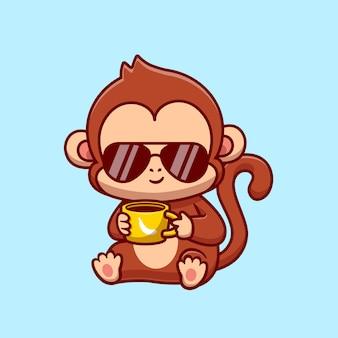 귀여운 멋진 원숭이 음료 커피 그림