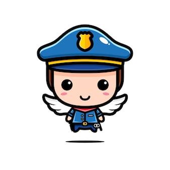 귀여운 경찰 디자인은 천사 흰색 절연