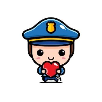 귀여운 경찰 포옹 사랑 마음 흰색 절연
