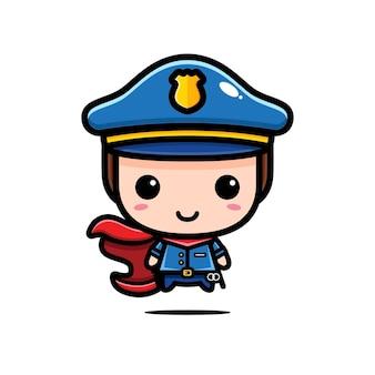 かわいい警官は白で隔離されたスーパーヒーローです