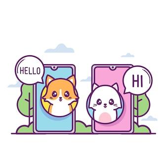 かわいいコーギーと猫が電話をかける