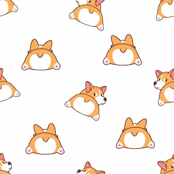 Cute corgi butt cartoon seamless pattern