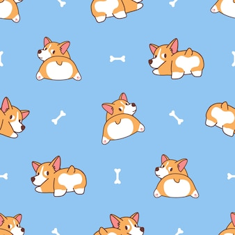 Cute corgi butt, welsh corgi dog looking back seamless pattern