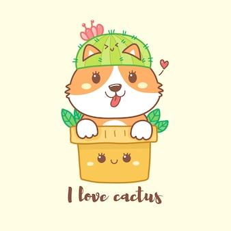 Cute corgi on the cactus pot cartoon hand drawn