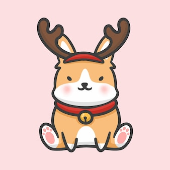 Cute corgi costume reindeer christmas hand drawn cartoon style