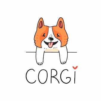 Cute corgi dog character looking out from behind an obstacle with text vector illustration